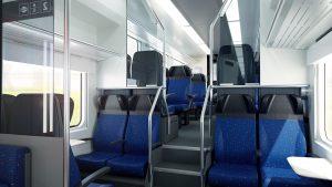 Elektrická jednotka RegioPanter pro 140 cestujících. Vizualizace druhé třídy. Foto: České dráhy
