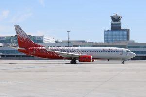 Letadlo Rossiya Airlines v Praze. Pramen: Letiště Praha