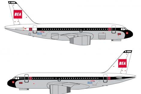 Airbus A319 v nátěru připomínajícím British European Airways: Foto: BA