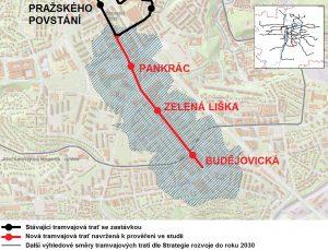 Mapa trasy tramvaje mezi stanicemi Pražského povstání a Budějovická.