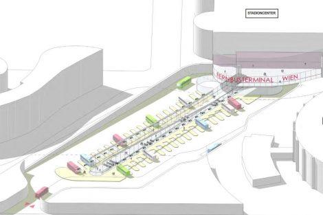 Vizualizace autobusového nádraží Vídeň. Pramen: Wien Holding
