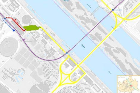 Umístění nového autobusového nádraží Vídeň. Pramen: Wien Holding