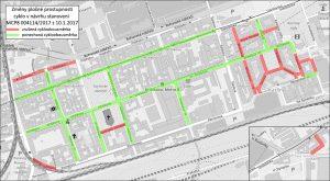 Mapa cyklistických obousměrek, které Praha 8 zrušila. Foto: Auto-mat.cz