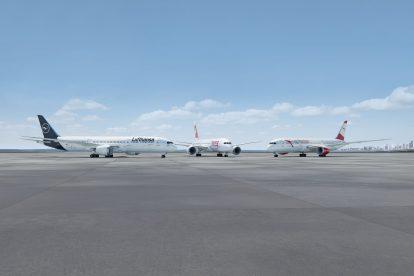 Boeingy 787-9 v barvách různých aerolinek skupiny Lufthansa Group