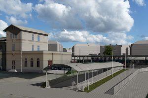 Vyústění nuselsko-vršovického podchodu vedle nádražní budovy Vršovice. Vizualizace: SŽDC