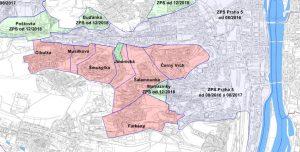Chystané rozšíření zón placeného stání na Praze 5 (růžová barva jsou nové připravované zóny).