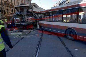 Nehoda trolejbusu a tramvaje v Brně v Křenové ulici. Foto: Drážní inspekce