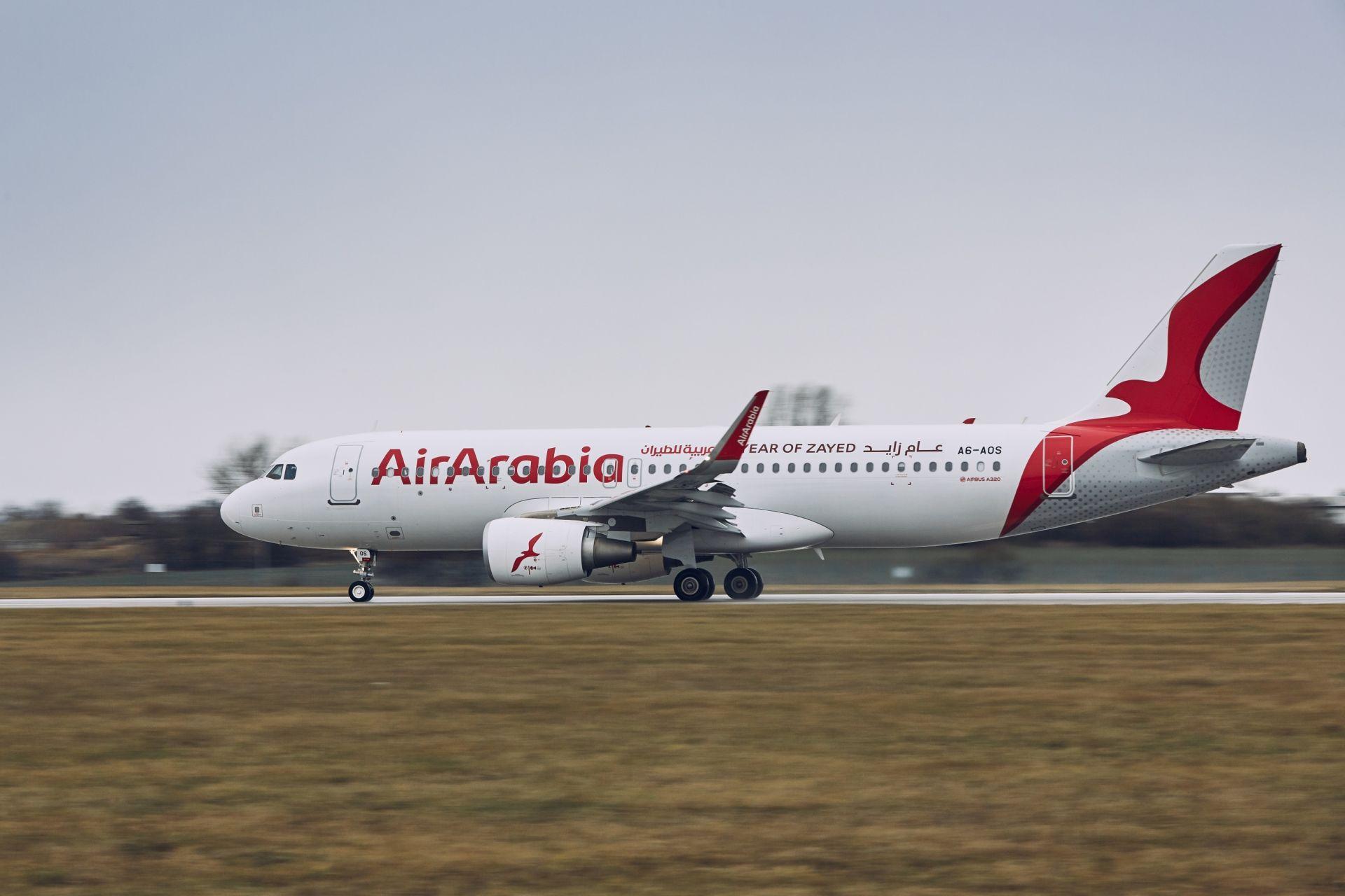 Letadlo Air Arabia v Praze. Pramen: Letiště Praha