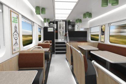 Interiér restauračního vozu pro finské dráhy VR. Foto: Škoda Transportation