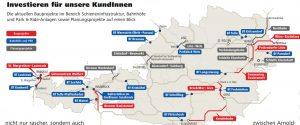 Mapa investičních projektů ÖBB. Foto: výroční zpráva ÖBB