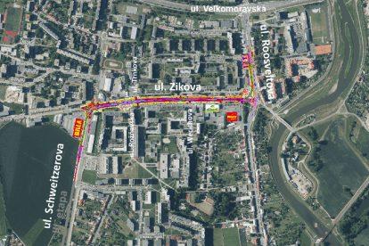 Trasa nové tramvajové trati v Olomouci. Foto: Moravia Consult