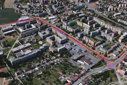 Zákres nové tramvajové trati do letecké mapy. Foto: Moravia Consult