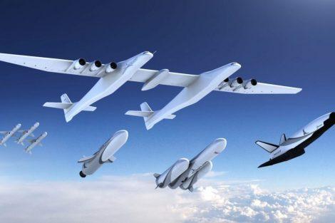 Z letadel Stratolaunch mají v budoucnu startovat rakety pro cesty do vesmíru. Foto: Stratolaunch