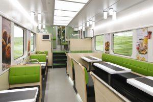 Interiér restauračního vozu pro finské dráhy VR. Foto: Škoda Transtech