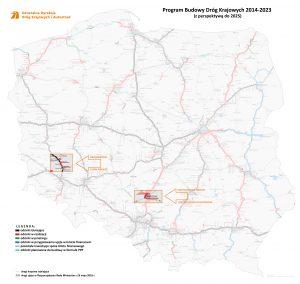 Úseky dálnic, které měla zbudovat Salini Polska. Pramen: GDDKiA