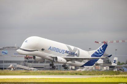 Beluga po startu z Toulouse. Foto: Airbus