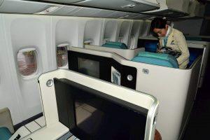 Interiér byznys třídy v Boeing 747-8i. Foto: Michal Holeček