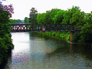 Původní podoba železniční mostu v Lužci nad Vltavou. Pramen: ŘVC