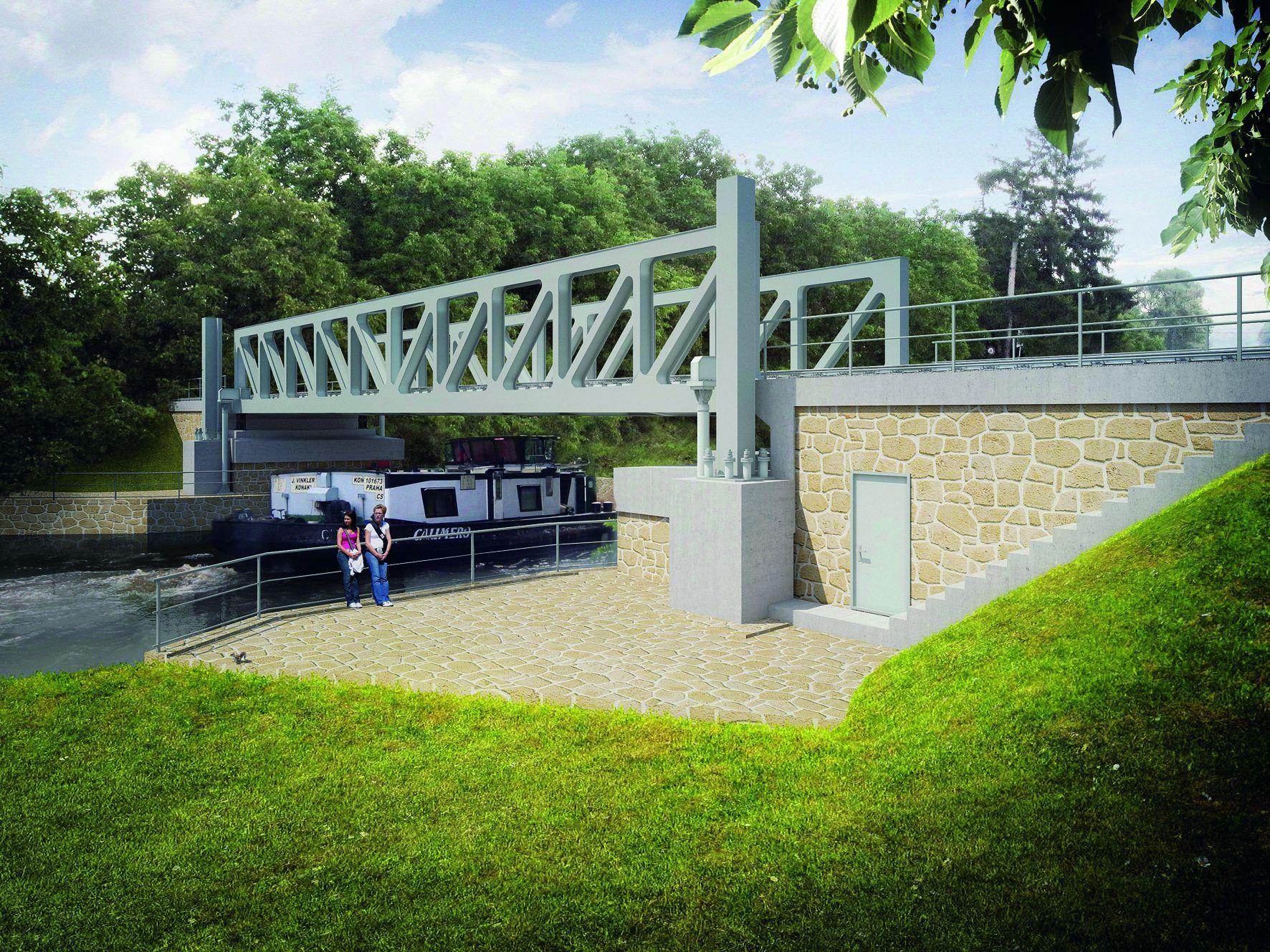 Nový železniční most v Lužci nad Vltavou bude zdvižný, vizualizace. Pramen: ŘVC