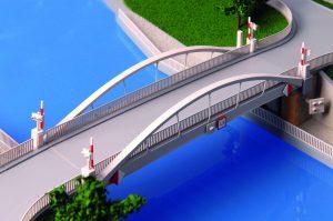Zdvihací most Vraňany, model.  Pramen: ŘVC
