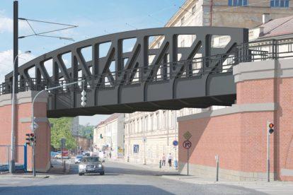 Vizualizace mostu přes ulici Prvního pluku. Jde o součást opravy Negrelliho viaduktu