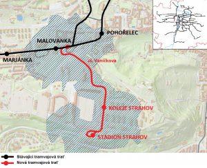 Mapa tramvajové trati z Malovanky na Strahov
