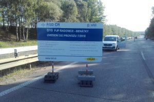 Oprava D10 u Benátek nad Jizerou. Foto: Colas