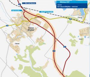 Mapa trasy obchvatu silnice I/37 v Osové Bítýšce. Foto: ŘSD