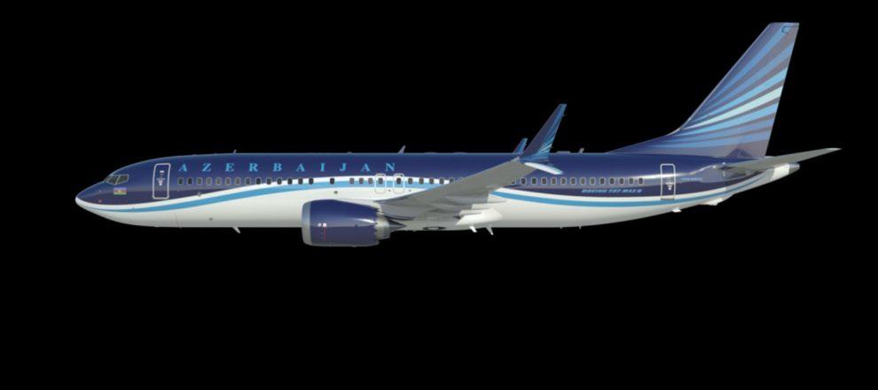 Vizualizace Boeingu 737 MAX 8 v barvách Azerbaijan Airlines. Foto: Boeing