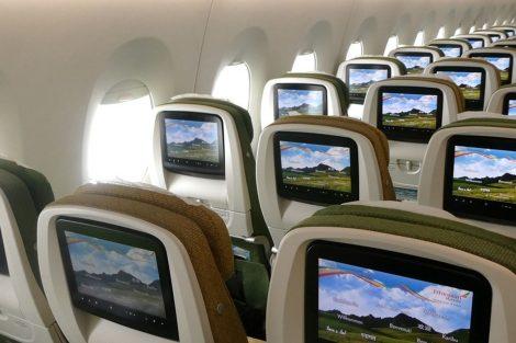 Interiér ekonomické třídy v Airbusu A350-900 Ethiopian Airlines. Foto: Rosťa Kopecký / Flyrosta.com