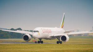 Airbus A350-900 Ethiopian Airlines po přistání v Praze. Foto: Rosťa Kopecký / flyrosta.com