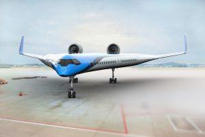 Koncept letadla ve tvaru V. Foto: KLM