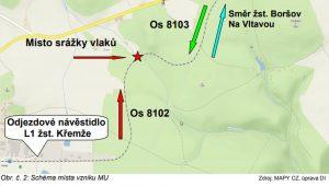 Zákres mimořádné události u Křemže. Foto: Drážní inspekce