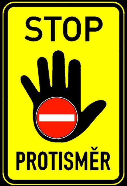 Značka STOP PROTISMĚR. Pramen: MDČR