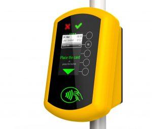 Validátor pro bezhotovostní platby v MHD. Pramen: Mastercard