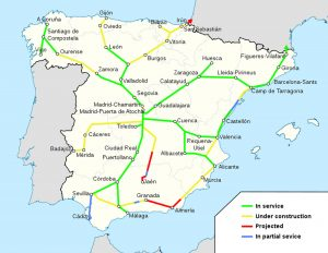 Mapa vysokorychlostních tratí ve Španělsku. Autor: HrAd - Wikimedia Commons