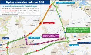 Mapa objízdných tras pro uzavírku na D10. Foto: ŘSD