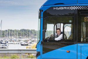 Hybridní autobus v Göteborgu. Foto: Transdev