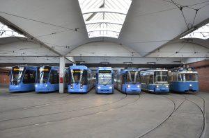 Tramvaje v mnichovské vozovně. Foto: Stadwerke München