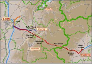 Mapa nové vysokorychlostní trati mezi Lyonem a Turínem. Foto: https://www.researchgate.net/figure/The-new-Lyon-Turin-railway-line-project-The-investment-costs-involved-by-this_fig5_228416082