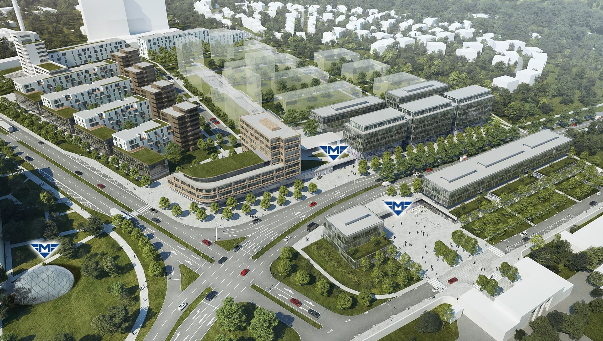 Vizualizace čtvrti Nová Krč u zastávky Nemocnice Krč. Foto: DPP