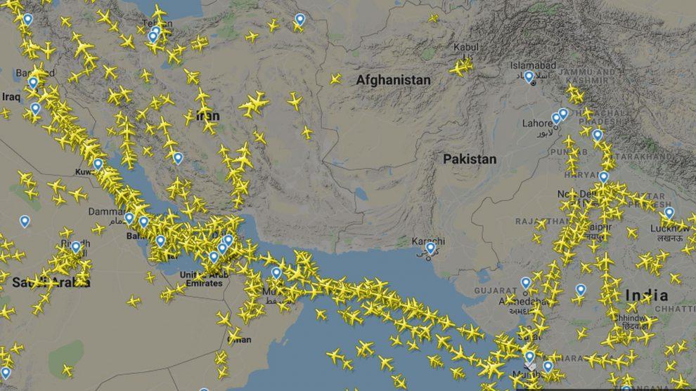 Vzdušný prostor nad Pákistánem v únoru 2019 po jeho uzavření. Foto: Flightradar24.com