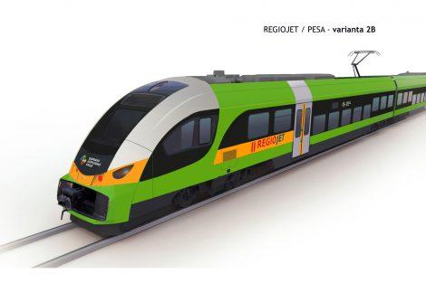 Vizualizace jednotky Pesa Elf.eu pro vlaky RegioJetu v Ústeckém kraji. Foto: RegioJet