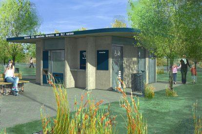 Korporátní záchody ŘSD, vizualizace. Pramen: ŘSD
