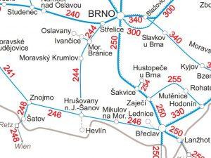 Současné železniční sít na Brněnsku a Znojemsku. Pramen: SŽDC