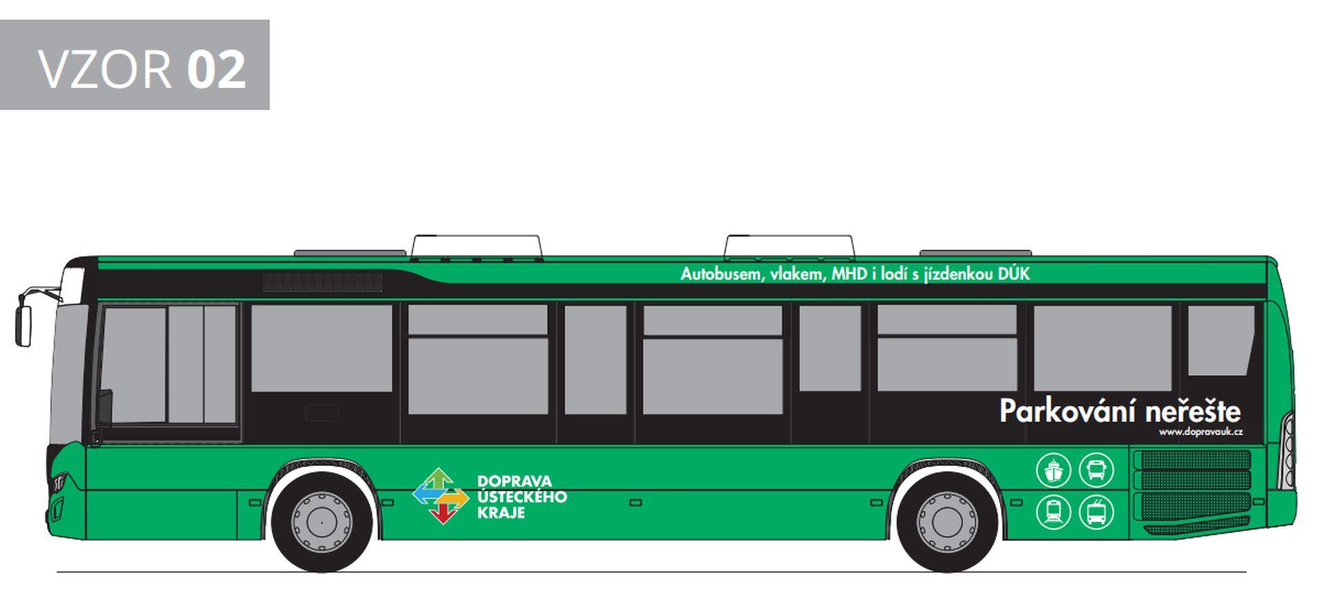 Jedna z verzi polepu autobusů pro Dopravní společnost Ústeckého kraje