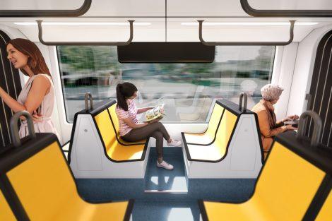 Interiér nové tramvaje Flexity pro Drážďany. Foto: Bombardier