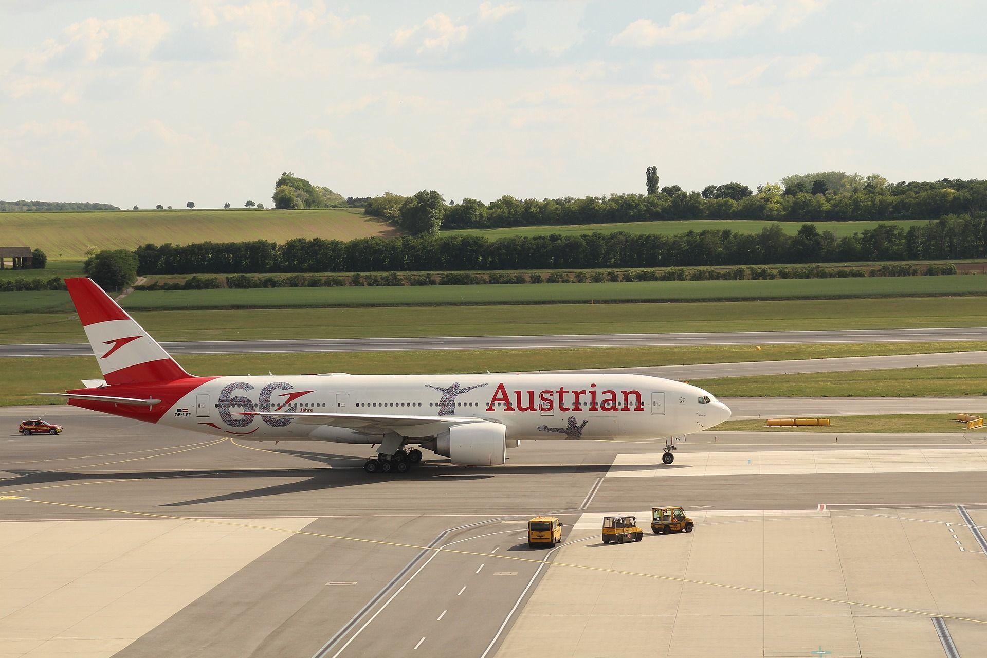 Boeing 777-200 společnosti Austrian Airlines ve Vídni. Foto: Biohacker76/Pixabay
