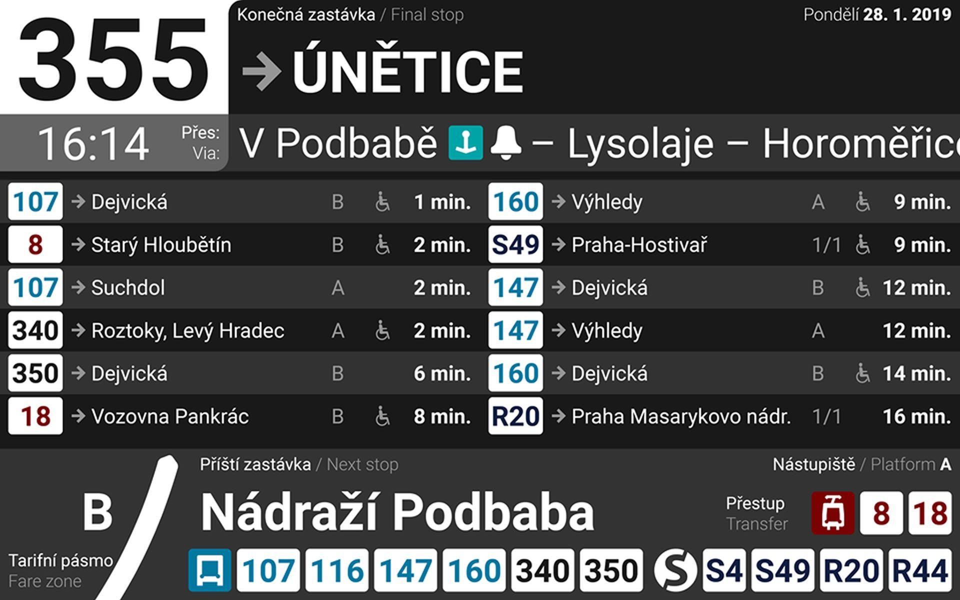 Zobrazení přípojů na displejích v rámci autobusu Pražské integrované dopravy. Foto: Ropid