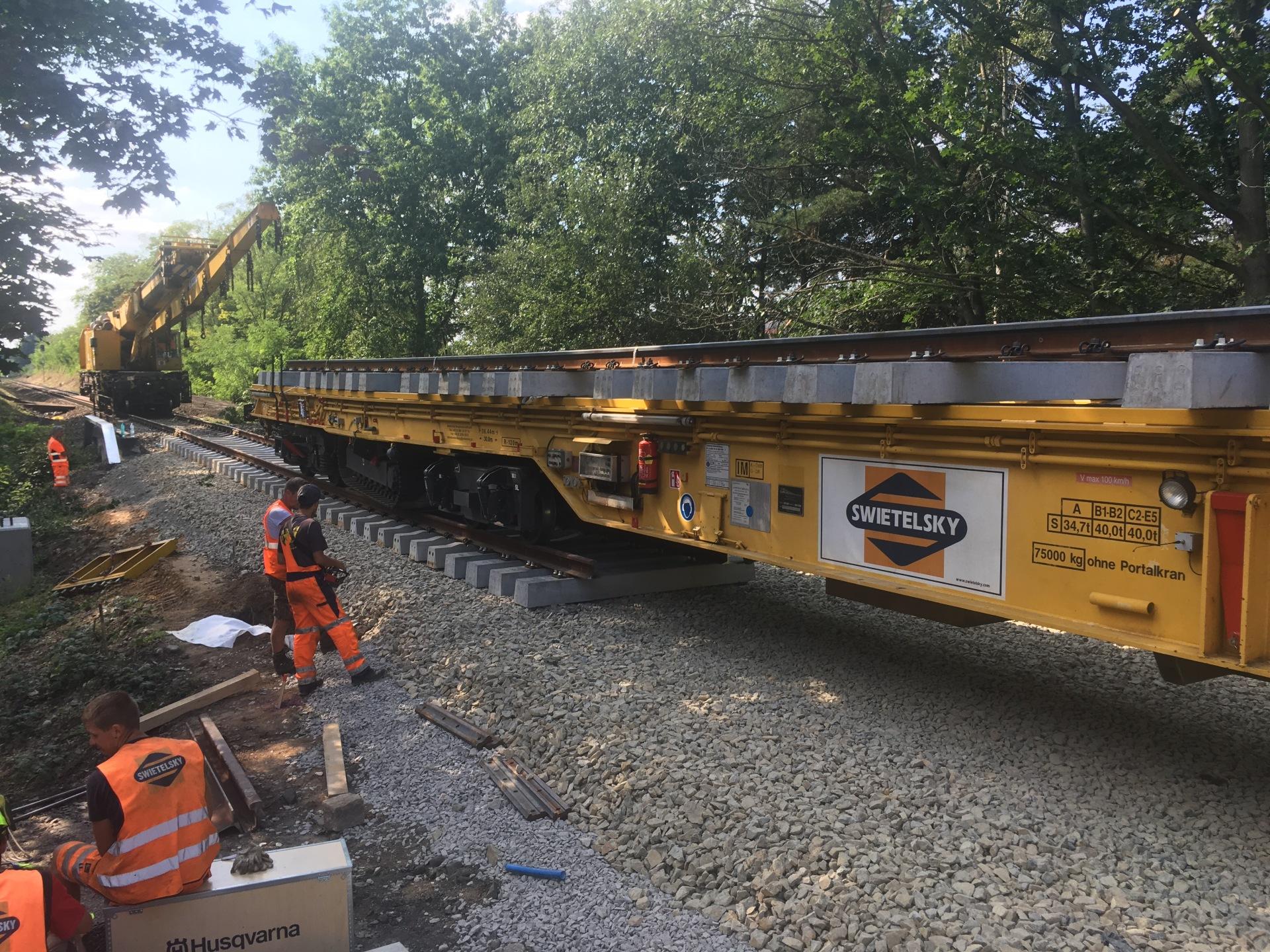 Stavba přesmyku domažlické tratě. Pramen: Swietelsky Rail